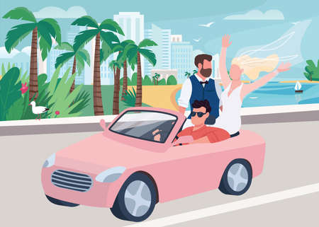 Newlywed riding car flat color vector illustration. Wedding celebration. Man and woman on seaside road. Bride in dress and happy groom 2D cartoon characters with landscape on background