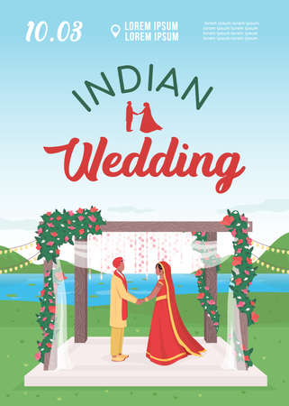 Indian wedding invitation flat vector template. Hindu couple engagement celebration. Brochure, booklet one page concept design with cartoon characters. Marriage ceremony flyer, leaflet 矢量图像