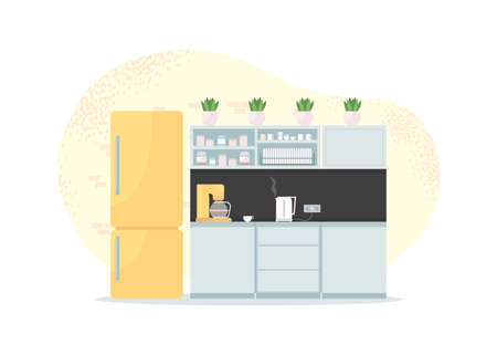 Office kitchen 2D vector web banner, poster. Lounge for employee breakfast. Dining room. Corporate flat space on cartoon background. Workplace break room printable patch, colorful web element