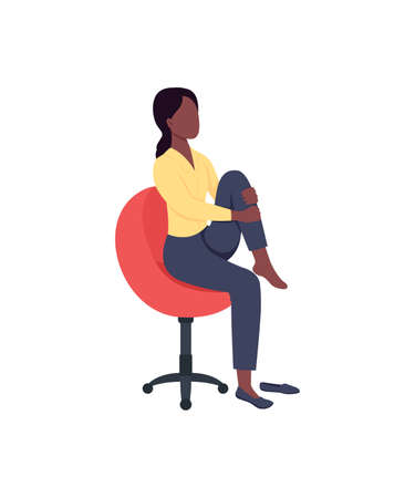 Woman in chair stretching leg flat color vector faceless character. Break from work. Physical activity. Workout at workplace isolated cartoon illustration for web graphic design and animation 矢量图像