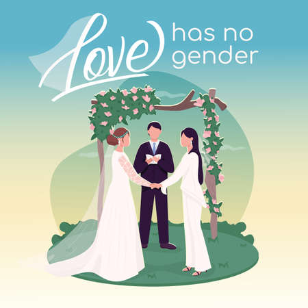 LGBT wedding social media post mockup. Love has no gender phrase. Web banner design template. Romantic ceremony postcard, content layout with inscription. Poster, print ads and flat illustration 矢量图像