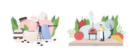 Popular work occupation flat concept vector illustration set. Barista pour milk in coffee cup. Baker put pizza in oven. Working 2D cartoon characters for web design. Job creative idea collection
