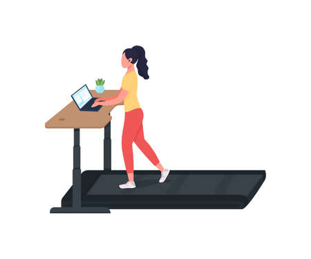 Woman working at treadmill workstation flat color vector faceless character. Manager at laptop. Cardio training at workplace isolated cartoon illustration for web graphic design and animation