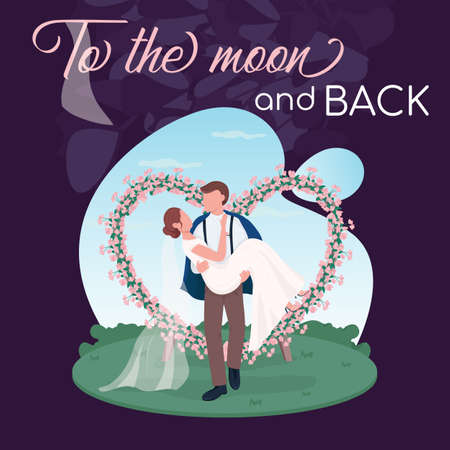 Romantic wedding social media post mockup. To the moon and back phrase. Web banner design template. Marriage ceremony postcard, content layout with inscription. Poster, print ads and flat illustration 矢量图像