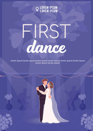 First dance poster flat vector template. Bride and groom hold hands. Newly married couple. Brochure, booklet one page concept design with cartoon characters. Wedding ceremony flyer, leaflet