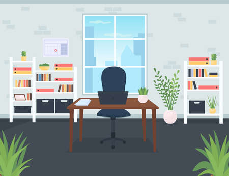 Businessman office flat color vector illustration. Desk with laptop. Chair for company CEO. Contemporary workplace for employee. Coworking space 2D cartoon interior with window on background