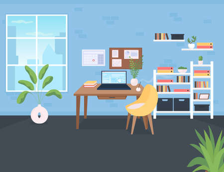 Workplace flat color vector illustration. Workspace for corporate employee. Room with computer on desk. Shelves with documents. Office 2D cartoon interior with window and shelves on background
