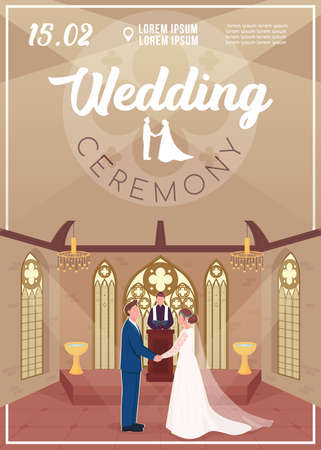Wedding ceremony invitation flat vector template. Couple in church. Engagement event. Brochure, booklet one page concept design with cartoon characters. Marriage celebration flyer, leaflet 矢量图像