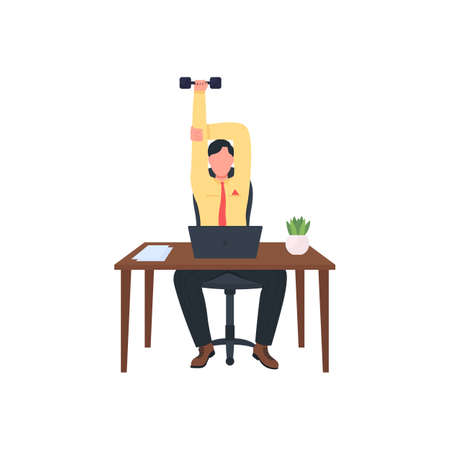 Man working out at workplace flat color vector faceless character. Office gym. Healthy employee. Exercise at desk isolated cartoon illustration for web graphic design and animation