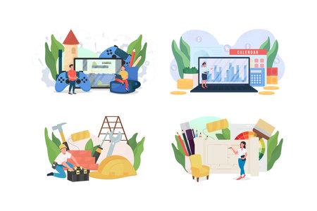 Popular jobs flat concept vector illustration set. Handyman. Interior designer. Accountant, game developer. Freelance work 2D cartoon character for web design. Occupation creative idea collection 矢量图像