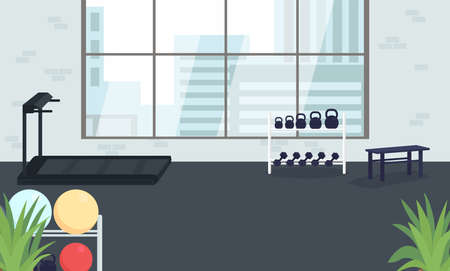 Corporate gym flat color vector illustration. Place for exercise. Space for physical activity. Fitness club for company employees 2D cartoon interior with large window on background
