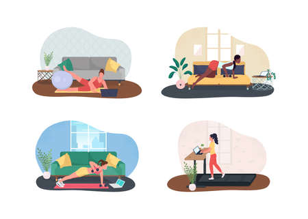 Home office gym 2D vector web banner, poster set. Space for physical activity. Working women flat characters on cartoon background. Workstation printable patch, colorful web element collection
