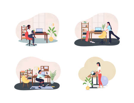 Workplace gym 2D vector web banner, poster set. Physical activity. Exercising women flat characters on cartoon background. Workout during work day printable patch, colorful web element collection