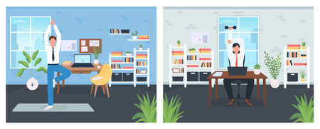 Workout in workplace flat color vector illustration set. Exercise during day job. Sport activity in workspace. Office worker 2D cartoon characters with office interior on background collection 矢量图像