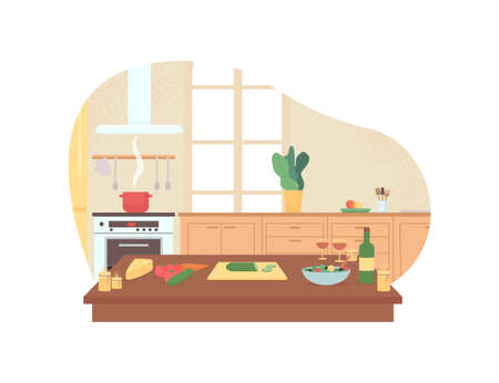 Preparing romantic dinner in home kitchen 2D vector web banner, poster. Valentines day preparation flat illustration on cartoon background. Cookery printable patch, colorful web element