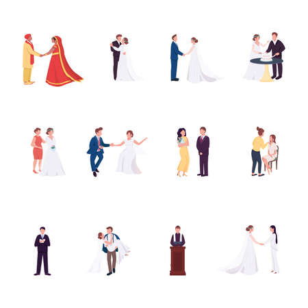 Wedding ceremony flat color vector faceless characters set. Groom and bride hold hands. Gay couple. Marriage celebration isolated cartoon illustration for web graphic design and animation collection