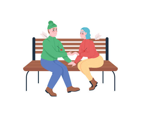 Boy and girl fall in love flat color vector detailed characters. Man and woman with arrows in heart. Valentines day isolated cartoon illustration for web graphic design and animation 矢量图像