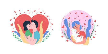 Love flat concept vector illustration set. Couple kissing. Boyfriend, girlfriend. Pet owner hugging cat. Man, woman 2D cartoon characters for web design. Expressing affection creative idea collection 矢量图像