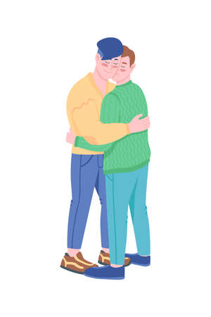 Gay couple smiling and hugging flat color vector detailed characters. Happy men in romantic relationship. Valentines day isolated cartoon illustration for web graphic design and animation 矢量图像