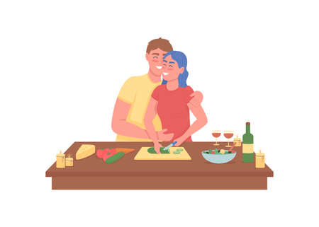 Happy couple cooking romantic dinner flat color vector detailed characters. Smiling man and woman in kitchen. Valentine day isolated cartoon illustration for web graphic design and animation 矢量图像