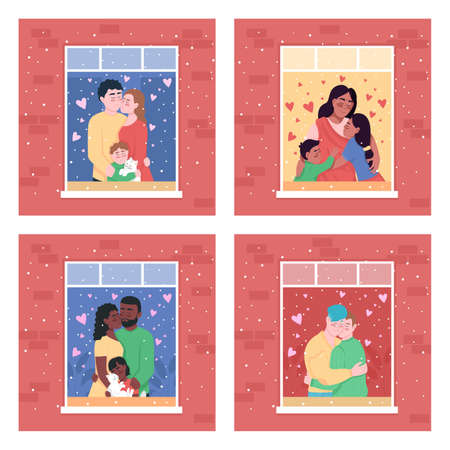 Happy family in home window flat color vector illustration set. Indian mother with children. Gay hugging couple. Smiling 2D cartoon characters with apartment on background collection