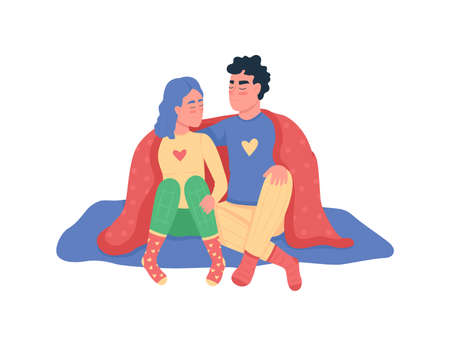 Couple hugging under blanket flat color vector detailed characters. Spending time together indoors. Valentines day at home isolated cartoon illustration for web graphic design and animation