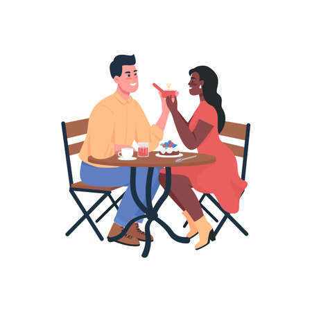 Man proposing engagement to woman flat color vector detailed characters. Happy couple. Partners during romantic dinner. Valentine day isolated cartoon illustration for web graphic design and animation