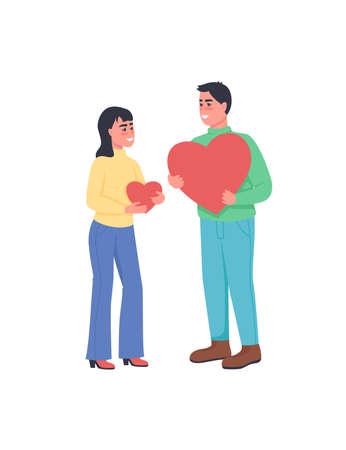 Man and woman with hearts expressing love flat color vector detailed characters. Happy smiling couple. Valentines day isolated cartoon illustration for web graphic design and animation