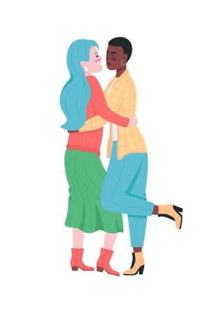 Happy lesbian couple flat color vector detailed characters. Smiling hugging women. Girlfriend express love. Valentine day isolated cartoon illustration for web graphic design and animation
