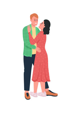 Happy hugging man and woman flat color vector detailed characters. Couple embrace. Boyfriend, girlfriend. Valentines day isolated cartoon illustration for web graphic design and animation 矢量图像