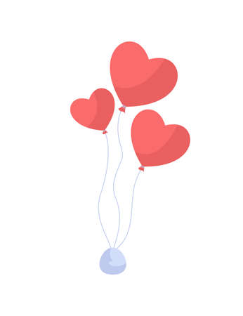Heart shaped balloon flat color vector item. Decoration for romantic event. Express love. Party greeting. Valentines day celebration isolated cartoon illustration for web graphic design and animation