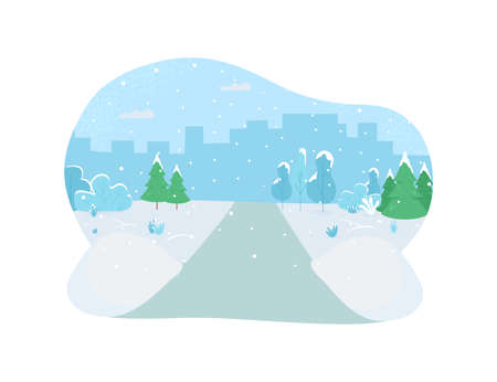Winter park 2D vector web banner, poster. Snowing on street. Cold weather. Holiday season flat illustration on cartoon background. Romantic valentines day printable patch, colorful web element 矢量图像