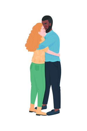 Interracial couple hugging flat color vector detailed characters. Relationship anniversary. Valentines day celebration isolated cartoon illustration for web graphic design and animation