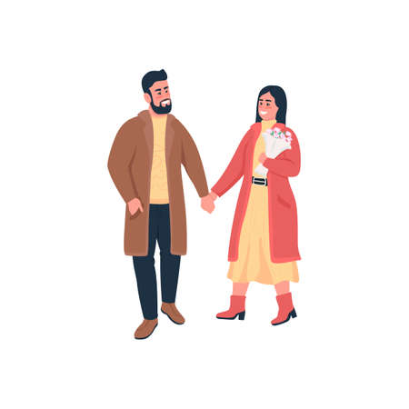 Happy couple holding hands on winter walk flat color vector detailed characters. Romantic relationship. Valentines day celebration isolated cartoon illustration for web graphic design and animation