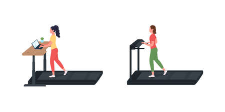 Sport training working woman flat color vector faceless character set. Healthy employee. Treadmill for cardio exercise isolated cartoon illustration for web graphic design and animation collection