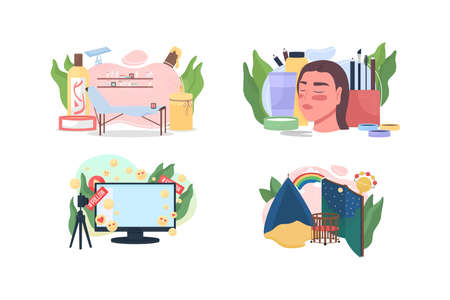 Popular professions flat concept vector illustration set. Beauty salon. Cosmetic treatment. Social media. Occupation 2D cartoon scene for web design. Professional work creative idea collection