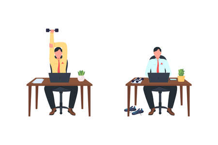 Male employee working out at workplace flat color vector faceless character set. Man at desk. Exercise isolated cartoon illustration for web graphic design and animation collection