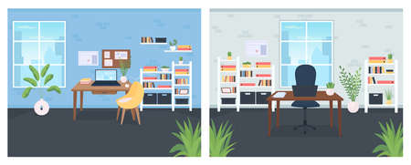 Office flat color vector illustration set. Desk with PC computer, laptop. Workstation for corporate worker. Coworking space 2D cartoon interior with furniture on background collection