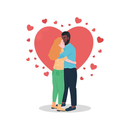 Happy interracial couple flat color vector detailed characters. Boyfriend hugging smiling girlfriend. Valentines day isolated cartoon illustration for web graphic design and animation