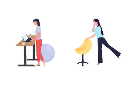 Woman exercise while work flat color vector faceless character set. Standing desk. Healthy lifestyle. Workout at workplace isolated cartoon illustration for web graphic design and animation collection 矢量图像