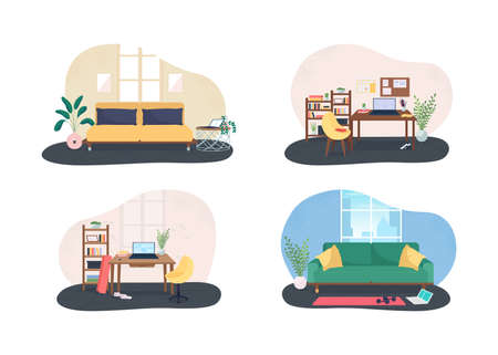 Home office gym 2D vector web banner, poster set. House workplace exercise flat scene on cartoon background. Workout during work day printable patch, colorful web element collection