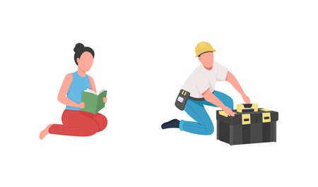Professional babysitter and handyman flat color vector faceless character set. Nanny, contractor job. Occupation isolated cartoon illustration for web graphic design and animation collection 矢量图像