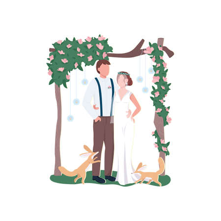 Newly married couple flat color vector faceless characters. Rustic floral decoration. Broom and bride. Flower gate. Wedding ceremony isolated cartoon illustration for web graphic design and animation