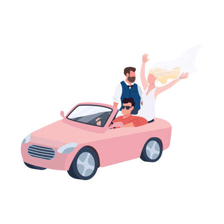 Newlyweds riding in car flat color vector faceless characters. Happy bridegroom. Bride in dress and veil. Married couple. Wedding isolated cartoon illustration for web graphic design and animation 矢量图像