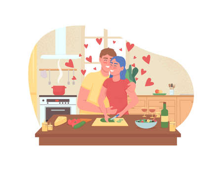 Couple cooking romantic dinner 2D vector web banner, poster. Boyfriend and girlfriend flat characters on cartoon background. Valentines day preparation printable patch, colorful web element