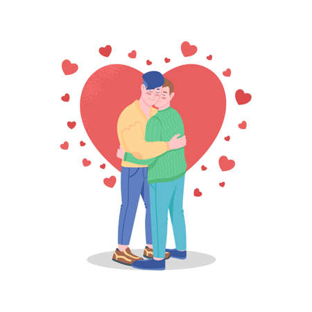 Happy gay couple in love flat color vector detailed characters. Valentines day celebration. Smiling hugging boyfriend isolated cartoon illustration for web graphic design and animation