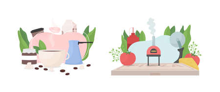 Popular work occupation flat concept vector illustration set. Small coffeeshop business. Pizzeria kitchen with brick oven. Cafe 2D cartoon scene for web design. Restaurant creative idea collection