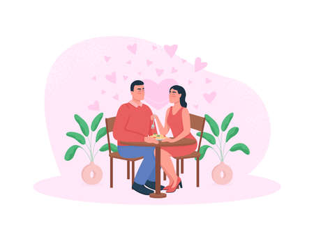 Romantic dinner 2D vector web banner, poster. Couple eat noodles. Man and woman in love flat characters on cartoon background. Anniversary celebration printable patch, colorful web element