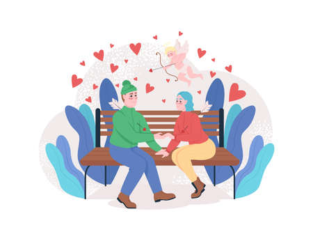 Boy and girl falling in love 2D vector web banner, poster. Couple holding hands flat characters on cartoon background. Cupid with bow. Valentines day blessing printable patch, colorful web element