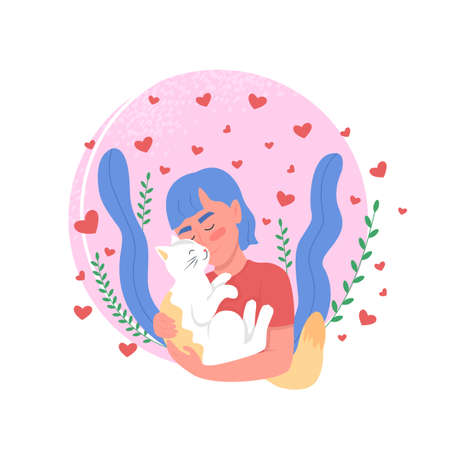 Pet owner affection to cat flat concept vector illustration. Woman bonding with domestic animal. Happy smiling girl 2D cartoon character for web design. Love expression creative idea 矢量图像